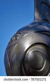 STANLEY PARK, VANCOUVER, CANADA - OCTOBER 2017: Closeup of the famous 'Killer Whale, Chief of the Undersea World' statue by indigenous Haida artist Bill Reid, in front of the Vancouver Aquarium.