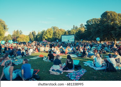 Stanley park,Vancouver BC Canada,July 18 2017.STANLEY PARK OUTDOOR MOVIES ,Vancouver Canada