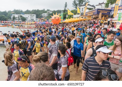 STANLEY-HONG KONG,MAY 30,2017:racing the Dragon boats festival race in Stanley beach on MAY 30,2017