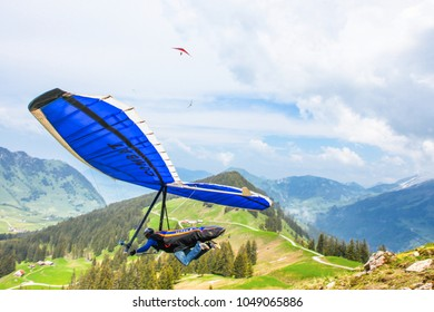 STANS, SWITZERLAND - May 27: Competitor  from Germany of the Swiss Masters hang gliding competitions takes part on May 27, 2015 in STANS, Switzerland