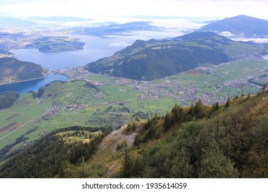 Stanserhorn Mountain, Stans, Switzerland:19 September 2015: A breathtaking Day taking the  funicular railway and roofless CabriO Cable Car up the Stanserhorn Mountain in Switzerland
