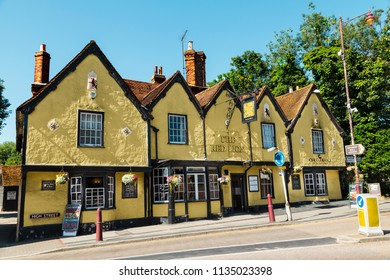 Stanstead Abbotts, UK - June 30, 2018: Facade of old traditional English pub The Red Lion in Stanstead Abbotts, East Hertfordshire, England