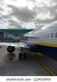 Stansted Airport, UK - September 19 2018:  The outside of a Ryanair Boeing 737 at Stansted Airport