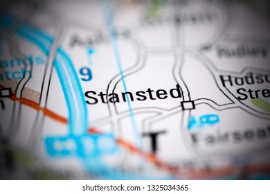 Stansted. United Kingdom on a geography map