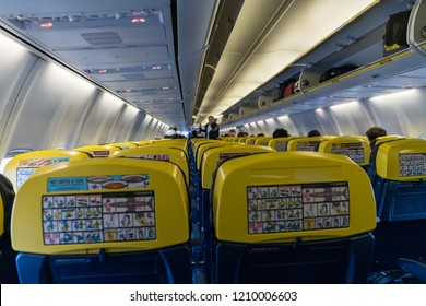 STANSTED,UK-9/11/2017:Interior of Ryanair plane at the Stansted airport terminal.Ryanair Ltd. is an Irish low-cost airline founded in 1984, headquartered in Swords, Dublin, Ireland