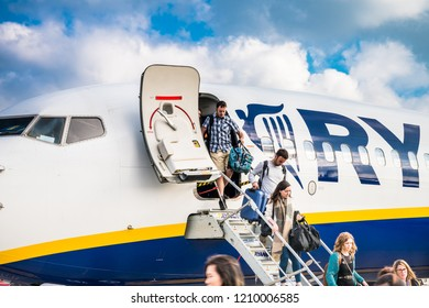 STANSTED,UK-9/11/2017:Ryanair plane at the Stansted airport terminal.Ryanair Ltd. is an Irish low-cost airline founded in 1984, headquartered in Swords, Dublin, Ireland