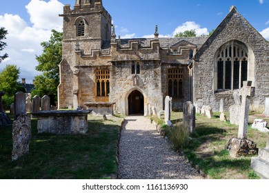 Stanton, UK - 8th August 2018: The Church of St Michael and All Angels in Stanton in the Cotswold district of Gloucestershire.The village is built almost completely of Cotswold stone.
