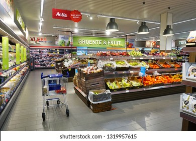 STAPHORST, NETHERLANDS - FEBRUARY 21, 2019: Fresh food department of a a Dutch subsidiary of Aldi supermarkets. In 2017, Aldi will start a restyling and rebranding operation for its Dutch branches.