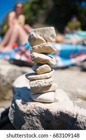 Stapled stones at the beach in Croatia