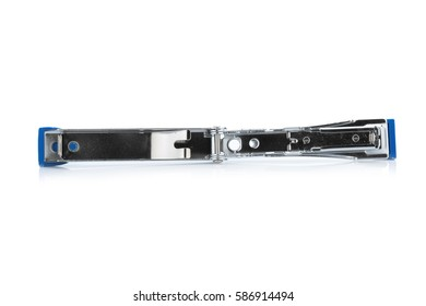 stapler steel color  blue. protracted. isolated on white background