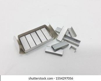 Staples Munitions for Stapling Books Documents Receipts of Office Equipment Tools in White Isolated Background