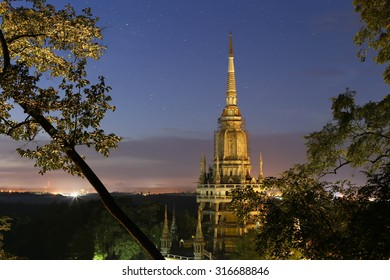Star above Tigel cave temple pagoda in the moutain in Krabi Thailand