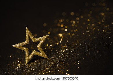 Star Abstract Decoration Lights, Gold Sparkles, Shine Blurred Background