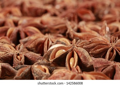 Star Anise background, delicious licoricey flavor in full frame.