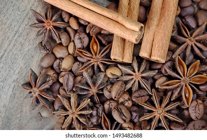star anise, cinnamon, and roasted coffee beans. roasted coffee and spices