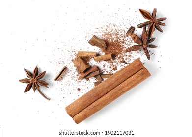 Star anise and cinnamon stick isolated on white background, top view