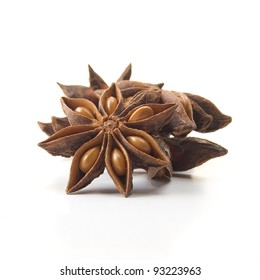 Star Anise (Illicium verum) or Chinese star anise spice. Studio image isolated on white background. Square crop.