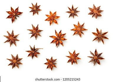 star anise isolated on the white background, top view