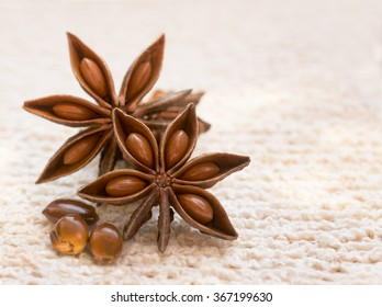 Star Anise pods and seeds on a cream textured background shot with selective focus