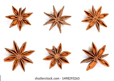 Star anise. Set of six star anise fruits. Close-up Isolated on white background with shadow, top view of chinese badiane spice or Illicium verum.