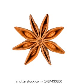 Star anise. Single star anise fruit. Macro close-up Isolated on white square background, top view of a chinese badiane spice or Illicium verum.