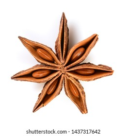 Star anise. Single star anise fruit. Macro close-up Isolated on white square background, top view of chinese badiane spice or Illicium verum.
