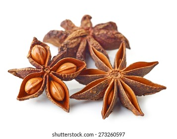 Star anise spice isolated on white background