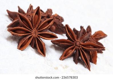 Star anise spice lying on white flour