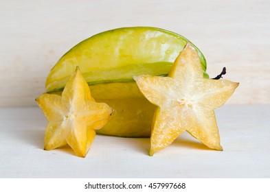 Star apple fruit (Also known as Carambola, starfruit, Averrhoa carambola, Bilimbi, Arkin in Florida, Dah Pon, Ma fueng, Maha in Malaysia, Demak, Golden Star, Newcomb, Star King, Golden star)