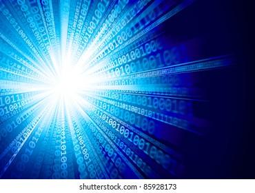 Star burst. Abstract blue background. Raster illustration.