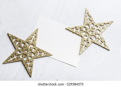 Star christmas decoration with greeting card