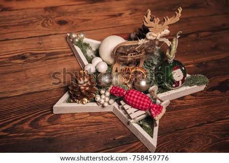 star christmas table decoration on wooden background - Wooden Christmas Table Decorations
