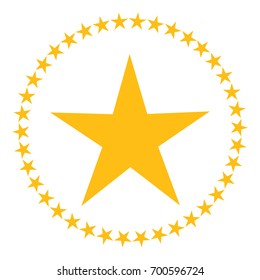 Star in circle shape. Starry border frame icon isolated on a white background