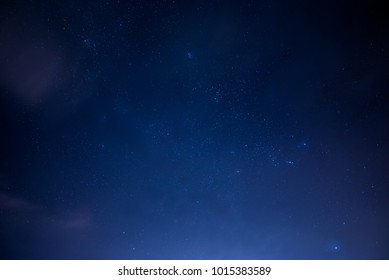 Star Cluster in the night sky with windy and mist in the winter, space background picture
