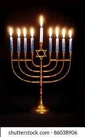 Star of David Hanukkah Menorah on Black Background