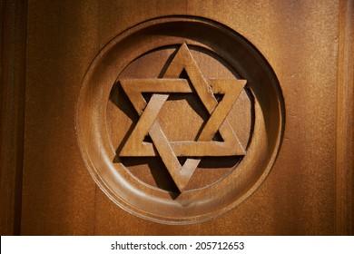 Star of David at Jewish Hebrew synagogue