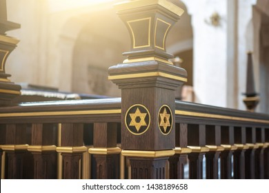 Star of David, Jewish symbol on wood in synagogue, close up