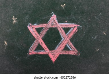 Star of David on chalkboard, blackboard, background and texture