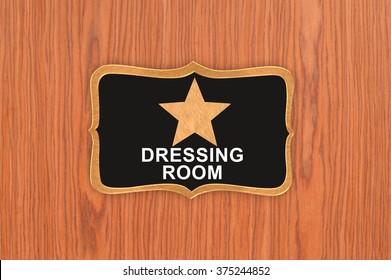 Star Dressing Room Hanging On Wood Door Background