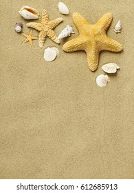 Star fishes on sand
