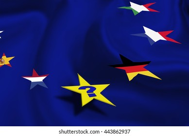 """Star flags of some countries in EU on azure background with a question """"Who will be the next?"""" after """"Brexit"""". The consequences, challenges and opportunities facing Britain outside the European Union."""