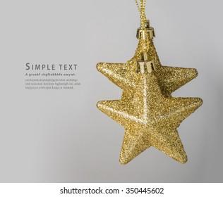 star, Golden Christmas star ornament on white background