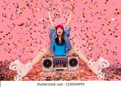 Star golden rain fall down sparkles people person happiness rejoice concept. Photo portrait of beautiful attractive pretty cool funky fancy modern lady pointing up sitting on floor isolated background