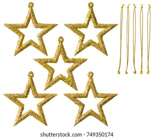 Star Hanging Christmas Decoration, New Year  Stars, Sparkling Golden Toys with Thread Isolated on White