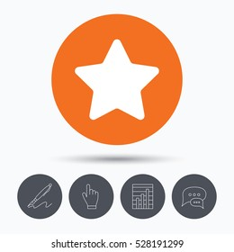 Star icon. Favorite or best sign. Web ranking symbol. Speech bubbles. Pen, hand click and chart. Orange circle button with icon.
