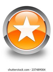 Star icon glossy orange round button
