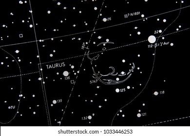 star map showing information about taurus constellation