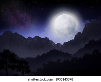 Star and moonlight in the night sky