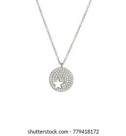 Star necklace with diamond jeweled