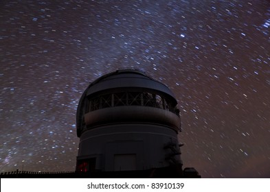 Star observatory in Hawaii at night with Milky Way